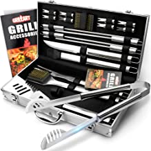 Weetiee BBQ Grill Utensil Tools Set. Reinforced Barbecue Tongs 19 Piece Stainless Steel BBQ Accessories Set - Complete Outdoor Grilling Tools Kit with Aluminum Storage Case - Ideal Gift for Man/Dad