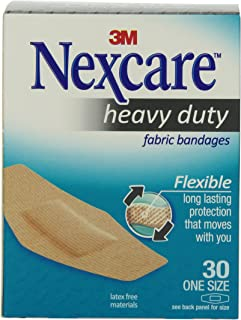 Nexcare Heavy Duty Flexible Fabric Bandages, One Size, 30 Count Packages (Pack of 4)