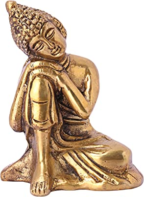 DreamKraft Metal Lord Buddha Idol, Standard, Gold