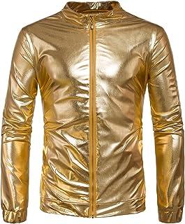 AOWOFS Men's Jacket Metallic Nightclub Barbour Jacket Costume Party Dancing Disco Halloween Cosplay