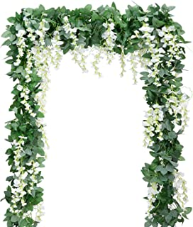 Artificial Flowers Silk Wisteria Vine 5pcs 6.6ft/Piece Ivy Leaves Garland Wisteria Artificial Plants Greenery Fake Hanging Vines Green Leaf Garland for Wedding Kitchen Home Party Decor(White)