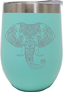 C M Elephant 12 oz. Double Insulated Stainless Steel Stemless Wine Tumbler with Lid-Laser Engraved- Teal Powder Coated Tumbler (teal elephant)