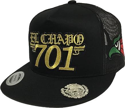 EL Chapo 701 Hat 3 Logos Aguila EN LA VISERA Black Mesh