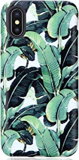 VIVIBIN iPhone X Case,Cute Green Banana Leaves for Men Women Clear Bumper Soft iPhone X Silicone Rubber TPU Cover Slim Fit Protective Phone Case for iPhone X XS 5.8 inch