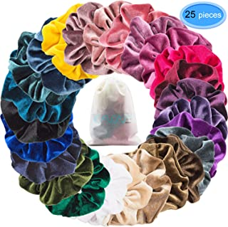 EAONE 25 Colors Velvet Hair Scrunchies Elastic Hair Ties Scrunchy Hair Bands Ponytail Holder Headbands for Women Girls Hair Accessories, 25 Pieces