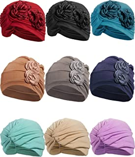 9 Pieces Turban Flower Hat Cancer Beanie Cap Head Wrap Elastic Turban for Women (Style 2)