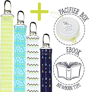Pacifier Clips Holder for Girls and Boys - Soothie Pacifier Clip Holder, Unisex & Universal Pacifiers Clips, Newborn Baby Soother, Best Cute Pacifier Leash Holder by Bubble Pleasure