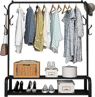 UDEAR Porte-vêtements Porte-vêtements avec Tige Supérieure, Rangements Inférieurs et 6 Crochets, Noir