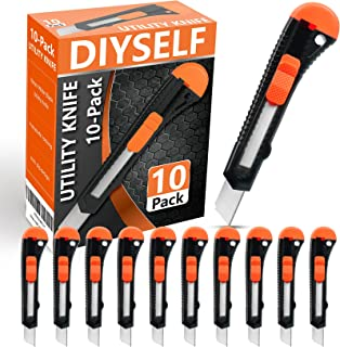 DIYSELF 10 Pack Utility Knife Retractable Box Cutter (18mm Wide Blade Cutter) Retractable, Compact, Extended Use for Heavy...