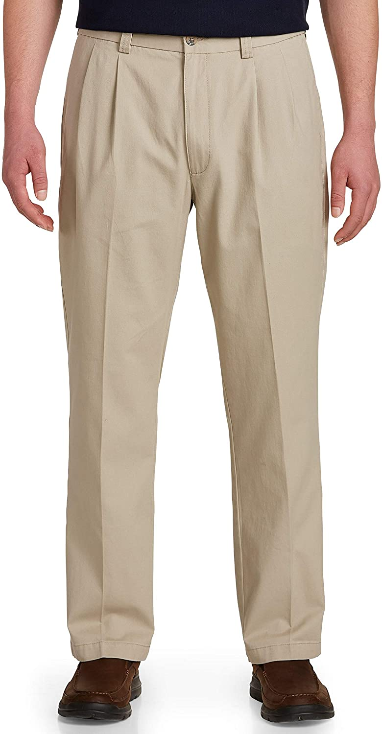 Harbor Bay by DXL Big and Tall Waist-Relaxer Pleated Pants8211; Unhemmed