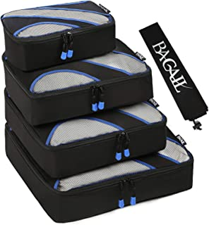 4 Set Packing Cubes,Travel Luggage Packing Organizers with Laundry Bag Black
