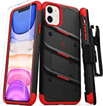 ZIZO Bolt Series iPhone 11 Case - Heavy-Duty Military-Grade Drop Protection w/Kickstand Included Belt Clip Holster Tempered Glass Lanyard - Black/Red