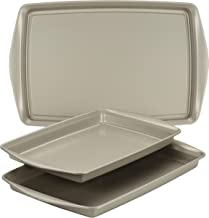 Rachael Ray 47683 Nonstick Bakeware Set without Grips includes Nonstick Cookie Sheets / Baking Sheets - 3 Piece, Silver