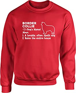 Hippowarehouse Personalised Border Collie Definition Unisex Jumper Sweatshirt Pullover (Specific Size Guide in Description)