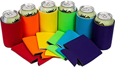 QualityPerfection - 12 Multi Beer Blank Can Coolers Sleeves - 12 oz Soft Drink,Economy Bulk,Collapsible Insulator - Perfect 4 BBQ,Weddings,Parties(Set of 12-6 Colors with a box)