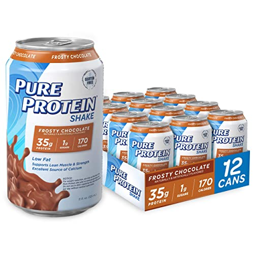 Pure Protein, High Protein Shake, 35g, Frosty Chocolate, Gluten Free, Snack, 11 Ounce Can, Pack of 12