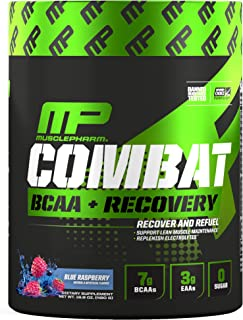 MusclePharm Combat BCAA + Recovery Powder, 10g of Branched-Chain Amino Acids and Essential Amino Acids, Blue Raspberry, 30...