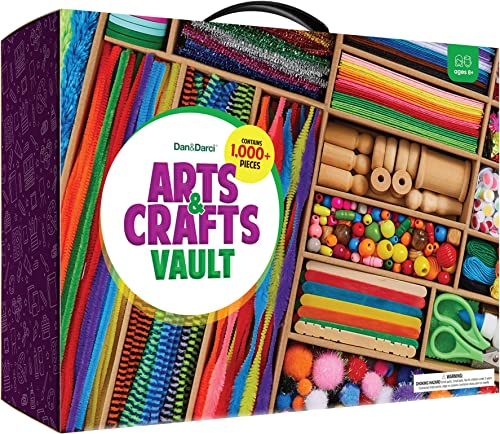 Arts and Crafts Vault - 1000+ Piece Craft Kit Library in a Box for Kids Ages 4 5 6 7 8 9 10 11 & 12 Year Old Girls & ...