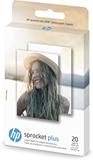 HP Zink Photo Paper for Sprocket Plus Instant Photo Printer, 20 Sticky Backed Sheets (2FR23A)