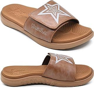 KuaiLu Mens Orthotic Leather Sandals Plantar Fasciitis Arch Support Athletic Slide Sandals For Men Adjustable Comfort Slip...