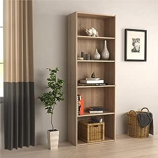 RealRooms Tally 5 Shelf Bookcase, Weathered Oak