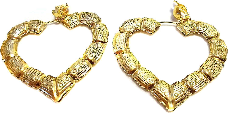 Clip-on Earrings Bamboo Heart Gold Tone Hoop Earrings 3 inch