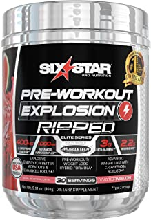 Pre Workout + Weight Loss Formula | Six Star Preworkout Explosion Ripped | Pre-Workout Powder for Men & Women | Great for ...
