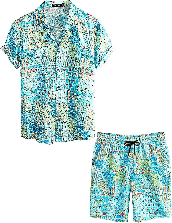 VATPAVE Mens Floral Hawaiian Shirts Short Sleeve Button Down Beach Shirts Suits