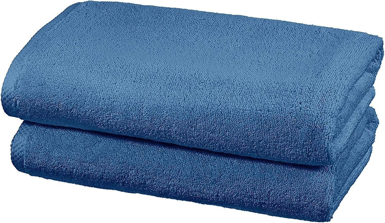 Amazon Basics - Juego de 2 toallas de secado rápido, 2 toallas de baño - Azulón