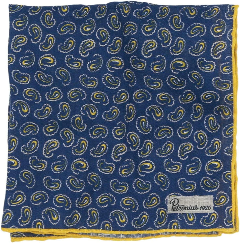 Petronius 1926 Men's Navy/Yellow Linen Paisley Pocket Square