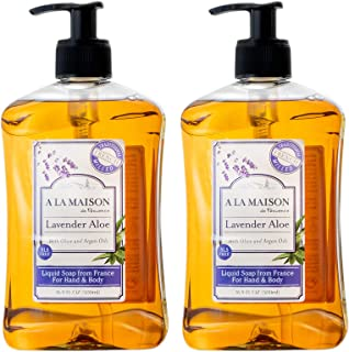 A La Maison de Provence Lavender Aloe Liquid Hand and Body Soap (Pack of 2) With Argan Oil, Olive Oil and Vitamin E, 16.9 ...