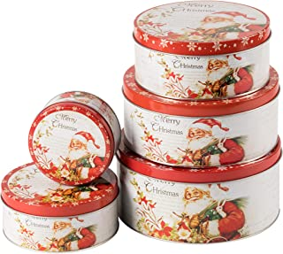 Juvale Set of 6 Round Decorative Christmas Tins with Lids, Santa Themed