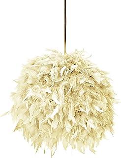 Lámpara FEATHERS crema - lámpara decorativa de plumas estilo Boho