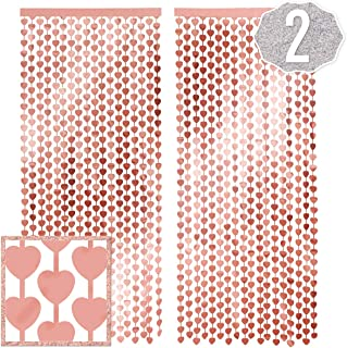 xo, Fetti Rose Gold Heart Foil Curtain - 2 Pcs, 3 ft x 7 ft | Metallic Fringe Tinsel, Bachelorette Party Decorations, Birthday Backdrop, Wedding Photo Booth, Engagement, Bridal Shower, Baby Shower