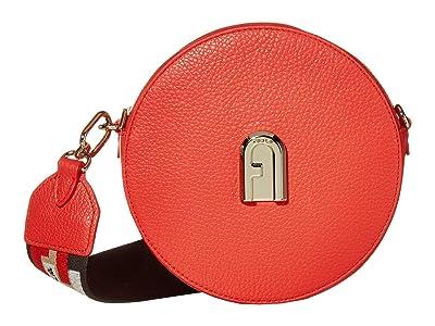 Furla Sleek Mini Crossbody Round (Fuoco) Handbags