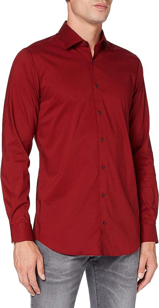 Pierre cardin, camicia per uomo a maniche lunghe, 73% cotone, 23% poliammide, 4% elastan 1603.25801.9063