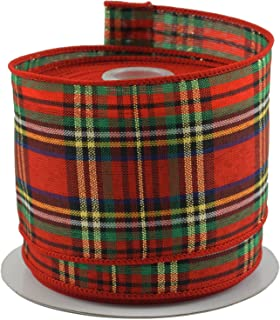 Tartan Plaid Red & Green Christmas Ribbon - 2.5
