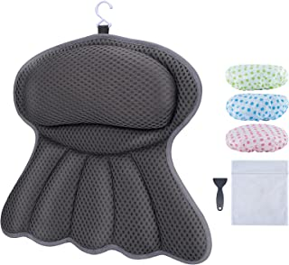 Bath Pillow, Luxury Bathtub Pillow, Ergonomic Bath Pillows for Tub, Soft 4 D Mesh Bath Tub Pillow Rest, Helps Head, Neck, ...