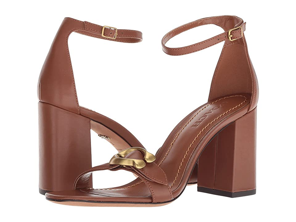 COACH Maya 85mm Sandal with Signature Buckle (Lion Leather) High Heels