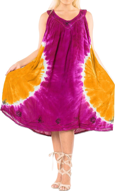 LA LEELA Women's Beach Dress Tunic Top T-Shirt Swing Dress Caftan Hand Tie Dye
