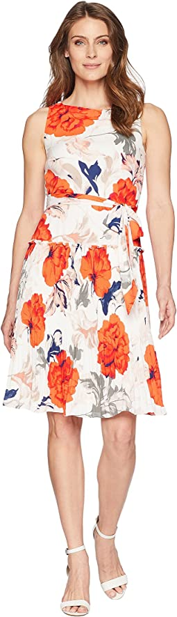 Sleeveless Printed Tie Waist Dress with Flared A-Line Hem