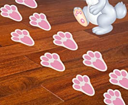 Geefuun 24Ct Easter Stickers Bunny Paw Prints - Party Decorations Ornaments - Floor Clings Decals