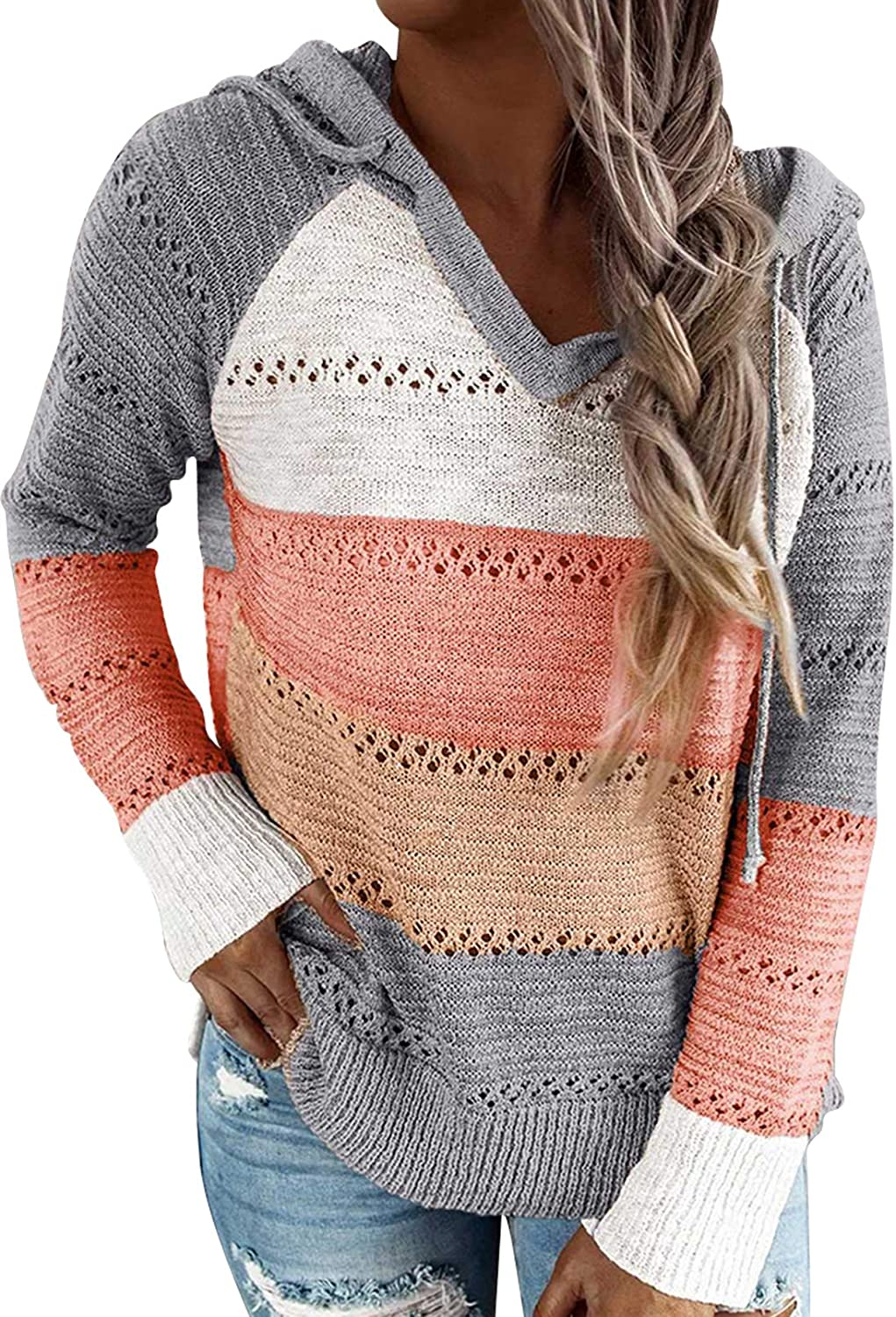 TOLENY Ultra-Cheap Deals Women's Color Block Pullover Li Hollow Sweater Hoodie Out Max 87% OFF