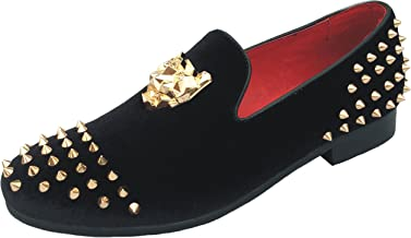 Justar Men's Spikes Dress Shoes Black Velvet Loafers with Gold Buckle Slip-On Slippers Flats