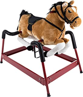 Spring Rocking Horse Plush Ride on Toy with Adjustable Foot Stirrups and Sounds for Toddlers to 5 Years Old by Happy Trails - Brown