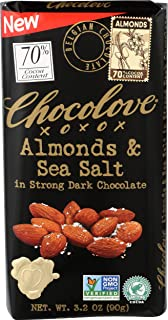 Chocolove, Chocolate Bar Dark Almonds Sea Salt 70%, 3.2 Ounce