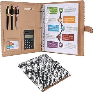Z PLINRISE High Grade Multifunction Letter Size Padfolio/Resume Portfolio Folder-Document Organizer/Business Card Holder with Calculator and 8 File Pockets