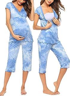 Women Layered Maternity & Nursing Pajama Capri Set Cotton Hospital PJS Set Pregnancy Breastfeeding Sleepwear(S-XXL)