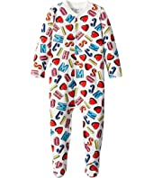 Moschino Kids - All Over Logo & Heart Print Footie (Infant)