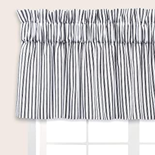 Cackleberry Home Black and White Ticking Stripe Valance Curtain Woven Cotton Lined 54 Inches W x 17 Inches L